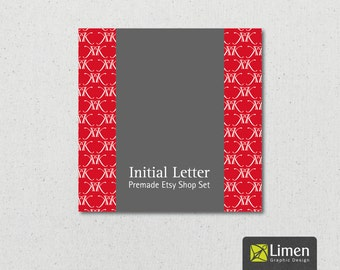 Initial Letter Premade Etsy Shop Set. Etsy Cover Photo, Etsy Banner, Etsy Shop Icon, Etsy Graphics. Premade Etsy Banner, Etsy Shop Graphics