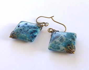 Blue Square Riverstone Earrings With Antiqued Brass Accents