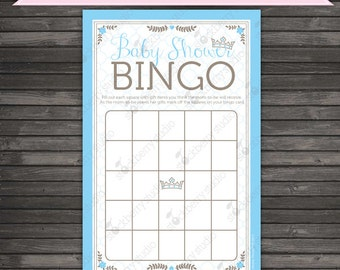 Prince Baby Shower Bingo Game Printable - Instant Download - Blue Baby Shower