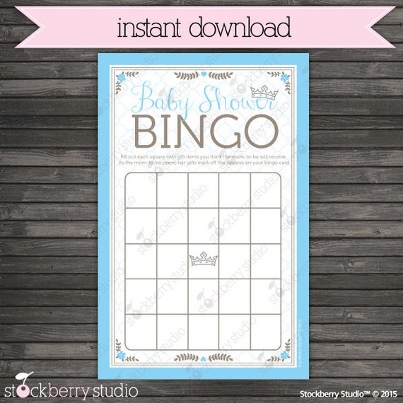 Prince Baby Shower Bingo Game Printable Boy Baby Shower