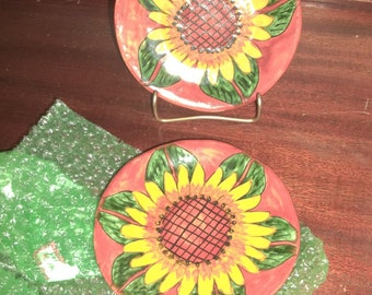 Mexican Pottery Talavera Mexican Pottery Dishes Sun Flowers 2 Signed ca. 1980 Vintage