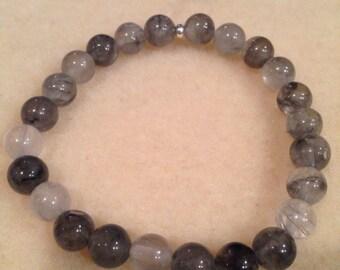 Tibetan Quartz Bracelet, Grey Quartz Bracelet, Stretch Bracelet, 8mm Round Bead Bracelet, Gemstone Bracelet, Yoga Bracelet