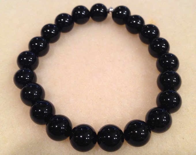 Black Onyx Round 8mm Bead Stretch Bracelet with Sterling Silver Accent