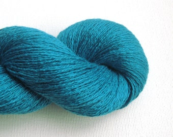 Lace Weight Silk Cashmere Recycled Yarn, Turquoise, 310 yards, Lot 080816
