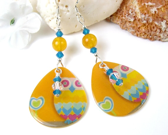 Cute Owl Earrings, Colorful Shell, Blue Crystals, Yellow Jade, Sterling Silver Beads Hooks, Summer Beach Dangles, Whimsical Birds Handmade