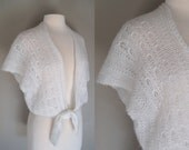 Vintage 70's Boho White Crop Top Tie Front Top Sweater - Medium - Small