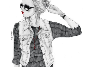 Look Away,  pencil drawing fashion illustration, A4 print