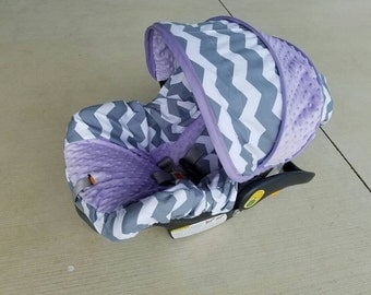 Gray and White Chevron with Lilac minky - Infant car seat cover- Custom order- Always comes with free strap covers
