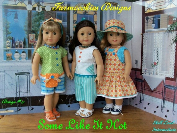 "Extra Large PDF Sewing Pattern / Some Like It Hot! Summer Separates and Accessories for American Girl® or other 18"" Dolls"