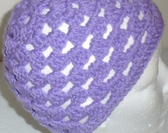 "Crocheted Spring beanie hat, Adult large size, fits head size 23"" to 24"" around"