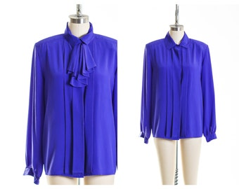 Vtg Oversize Purple Collar Blouse size 10