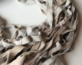 Recycled leather yarn from leather waste. Jewelry making leather, textile arts, weaving, knitting, rugs, 5 yards