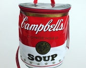 90's Iconic Cambells Soup Can Red Vinyl Warhol Novelty Art Backpack