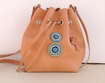 Leather bucket bag, women bag, bucket bag, boho bag, SUMMER SALE