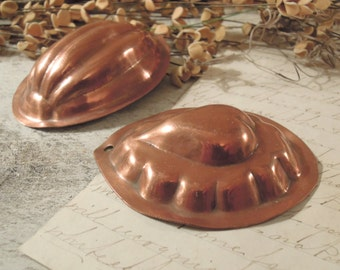 Two Vintage Swedish Copper Molds / Four Copper Jell-O Mini Molds / Copper Moulds / Heart
