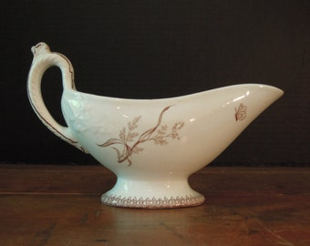 Antique Brown Transferware Ironstone Gravy Boat / T & R Boote / Summertime Pattern / England / Aesthetic Period / English Transferware