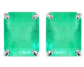 1.50 Carat Emerald Cut Colombian Emerald Stud EARRINGS Yellow Gold & White Gold 14K