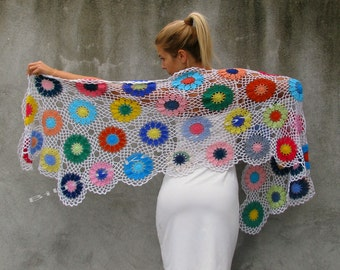 Women Accessories Colorful Crochet shawl white background