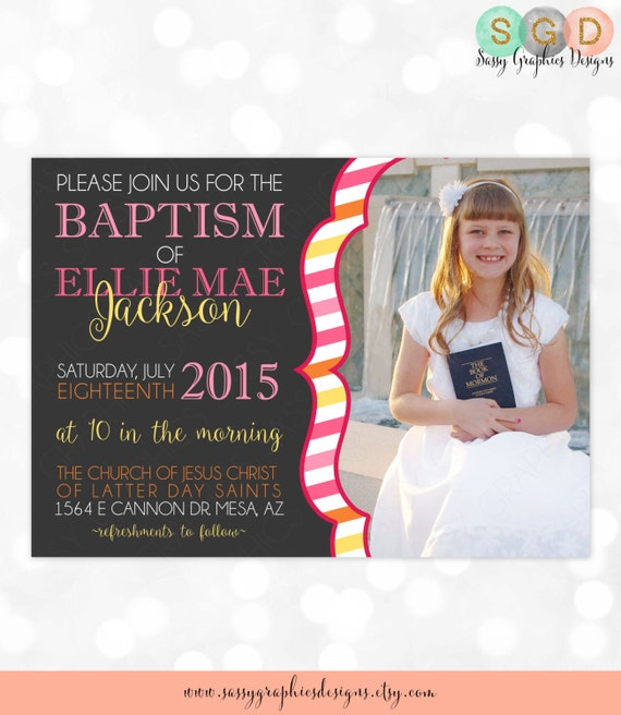 LDS Baptism Invitation For Girls Pink Baptism Invite Girl Baptism
