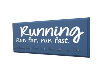 Running medals holder: run far, run fast., Gifts for runners, 5k, 10K, half and full marathon, awards display rack