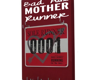 running Medal holder, running race bib holder rack and medal hanger, bad ass mother runner