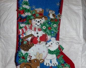 Handmade finished Christmas stocking with a Snowman, Deer, Polar Bear & birds - fsk1