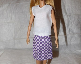 Purple and white checked skirt & solid white top for Fashion Dolls - ed919