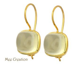EE3150004) Lemon Quartz Earrings, Lemon Quartz Cab Earrings, Yellow Earrings, Lemon Quartz Drop Earrings, Topaz Earrings, Bohemian Earrings,