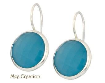 EE5020008) Blue Chalcedony Earrings, Blue Chalcedony Checkerboard Earrings, Blue Earrings, Blue Chalcedony Drop Earrings, Quartz Earrings
