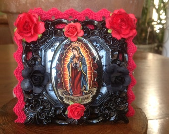 Our Lady of Guadalupe Framed Collage Nicho/Shrine/Altar Piece.