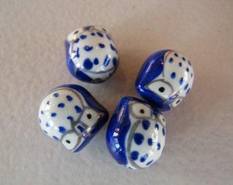 Owl Beads Ceramic Cherry Red/ Dove Grey /Cobalt Blue / Jet Black