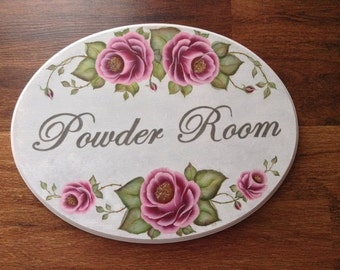 Powder Room wood Plaque - Pink Roses Bathroon Decor - sign