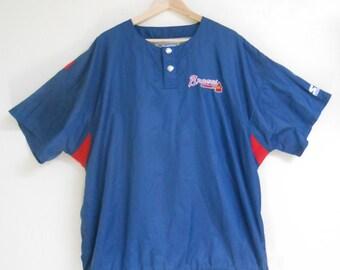 Vintage 1980s DIAMOND STARTER Atlanta Braves short-sleeved windbreaker, size XL
