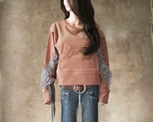 Velvet sweatshirt peach/Gray rosette appliques/Crew neck pull over/Kangaroo pocket
