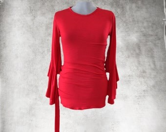 Red blouse top/Cascade long sleeve/Crew neck tee/Dressy blouse