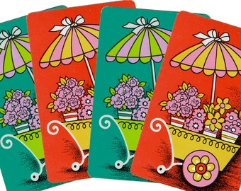 FLOWER CART (4) Vintage Single Swap Playing Cards Paper Ephemera Scrapbooking ATC