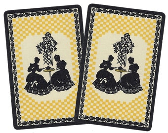 TEA for TWO (2) Vintage Single Swap Playing Cards Paper Ephemera Scrapbook
