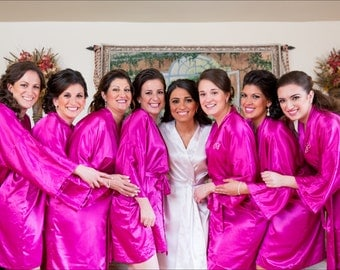 Hot Pink Bridesmaid Robes Pink Bridesmaid robes Bright Pink bridesmaid silk robe set monogrammed embroidered personalized bridal shower kid