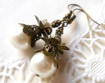 white victorian earrings pearl earrings brass flower earrings brass white pearl earrings beaded earrings white pearl jewelry