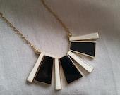 Valentines Day Vintage modernist enamel black ivory statement necklace