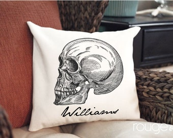 """Side Skull personalized throw pillow cover - pick your color and border - add on pillow insert - 14""""x14"""" cover - 16""""x16"""" feather/down insert"""