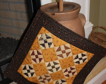Patchwork Quilted Runner / Quilted Table Runner / Primitive Table Topper / Country Patchwork / Shoofly Quilt block