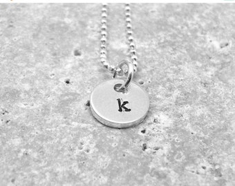 On Sale Initial Necklace, Tiny Letter k Necklace, Initial Pendant, Personalized, Sterling Silver Jewelry, Charm Necklace, Initial Charm, All
