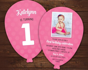 10 First Birthday Balloon Invitations, 1st Birthday Invite, Photo Invite, Pink Balloon, Die Cut Balloon Invitation with envelopes, any color