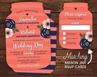 10 Mason Jar Wedding Invitations, Mason Jar shaped cards, Coral Striped, Country Wedding, Modern floral wedding
