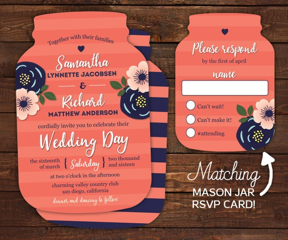 10 mason jar wedding invitations mason jar shaped cards With mason jar shaped wedding invitations