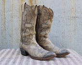 Vintage Vtg DAN POST Country Western Tall Leather Boots Retro Rocker Men's Size 10 USA