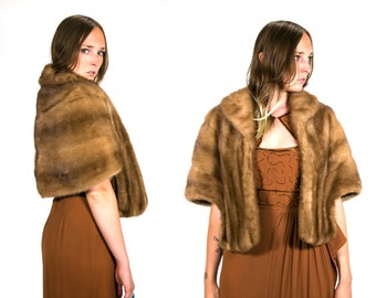 Vintage Vtg Mink Shawl // Capelet // Stoll // Wrap High Fashion Luxury 1940's 1950's Women's Honey Blonde Brown Monogrammed One Size