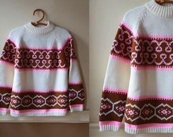 Vintage VTG VG 1970's 70's 1960's 60's Kimlon Neapolitan Pink Brown and Cream Swirly Sweater Women's Size Medium Retro Hipster Winter