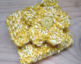 Hand Knitted Coin Purse, Yellow Change Purse with Flower Decoration